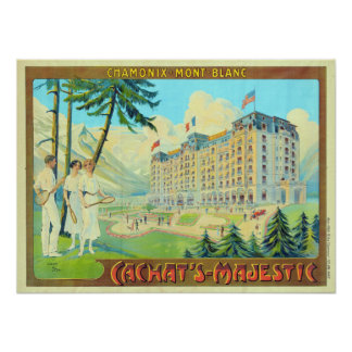 Vintage Chamonix Mont Blanc Tennis Resort Travel Poster