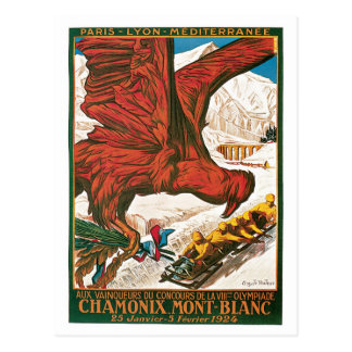 Vintage Chamonix Mont-Blanc travel ad Postcard
