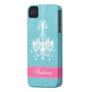 Vintage Chandelier and Damask Pattern iPhone 4 Case-Mate Case