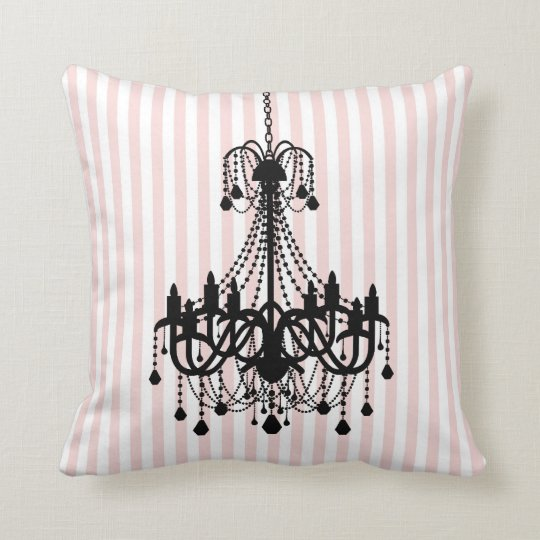 Vintage Chandelier and Pink Stripes Pattern Throw Pillow