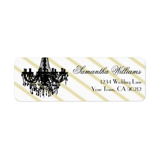 Vintage Chandelier Black and Gold Return Address Label