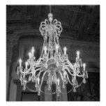 Vintage Chandelier Black And White Photo Poster