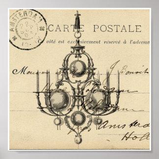 Vintage Chandelier French Postcard Art Print