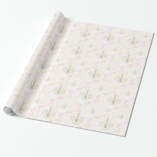 Vintage Chandelier Pink Cream Vines Wrapping Paper