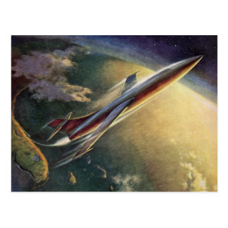 Vintage Change of Address Science Fiction Airplane Postcard
