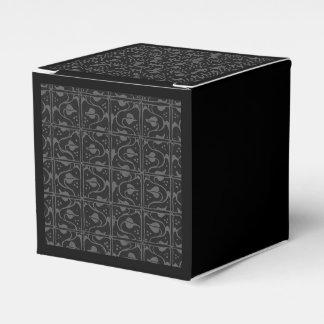 Vintage Charcoal Black Leaf and Vines Wedding Favor Box