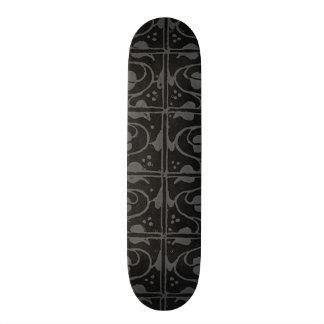 Vintage Charcoal Gray Black Leaf and Vines Skate Boards