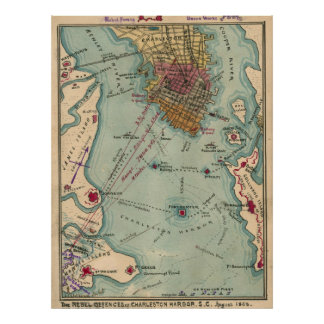 Vintage Charleston SC Civil War Map (1865) Poster