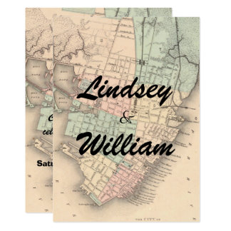 Vintage Charleston SC Map Wedding Invitation