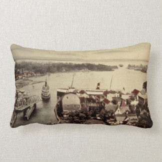 Vintage Charlevoix Michigan Antique Postcard Lumbar Pillow
