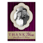 Vintage Charm Ivory & Aubergine Photo Thank You Card