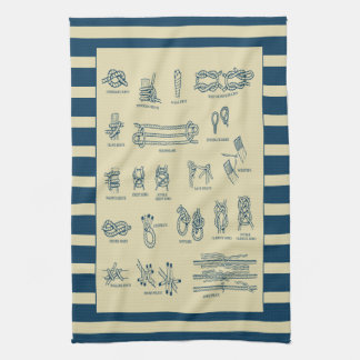 Vintage chart of nautical knots with stripes kitchen towel
