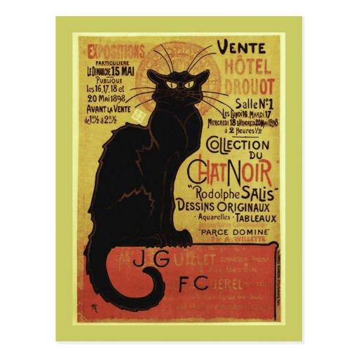 Vintage Chat Noir, Vente Hôtel Drouot Steinlen Post Card