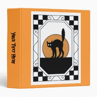 Vintage Checkered Frame With Black Cat Vinyl Binders