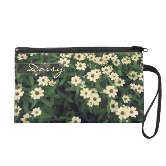 Vintage cheerful white dryas floral photo wristlet purse