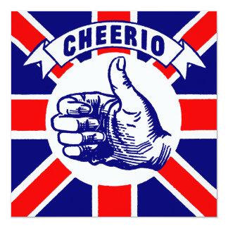 Vintage Cheerio 5.25x5.25 Square Paper Invitation Card