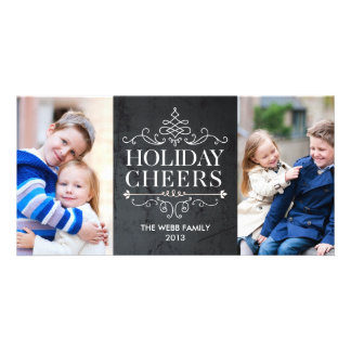 Vintage Cheers 2 Photos Holiday Photo Card