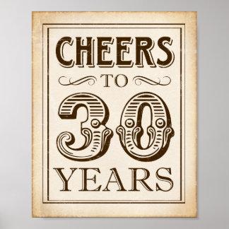 Vintage CHEERS TO 30 YEARS Sign Print