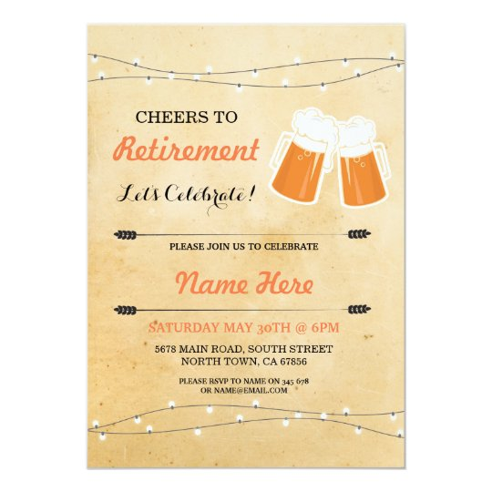 Vintage Cheers to Retirement Party Beers Invite
