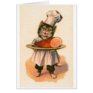 Vintage - Chef Cat Serves Baked Ham, Card