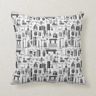 Vintage Chemical Apparatus Illustrations Throw Pillow