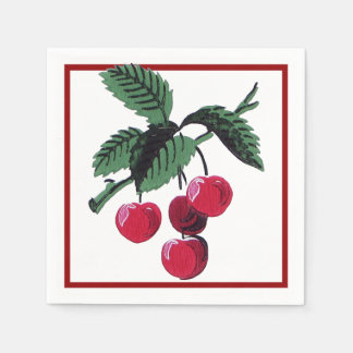 Vintage Cherries Disposable Napkin