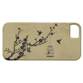 Vintage cherry blossom branch and birds silhouette iPhone 5 covers