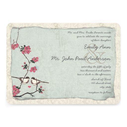 Vintage Cherry Blossom Chickadee  Damask Wedding Personalized Invitation