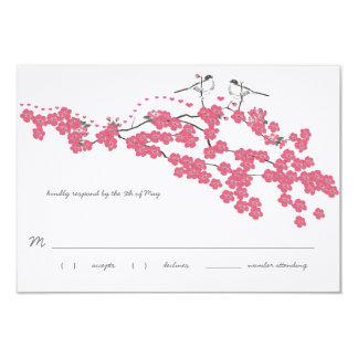 "Vintage Cherry Blossom Chickadee Wedding RSVP 3.5"" X 5"" Invitation Card"
