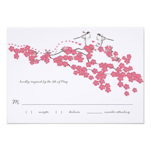 Vintage Cherry Blossom Chickadee Wedding RSVP Custom Invite