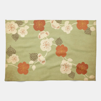 Vintage cherry blossom flowers American MoJo Kitch Kitchen Towel
