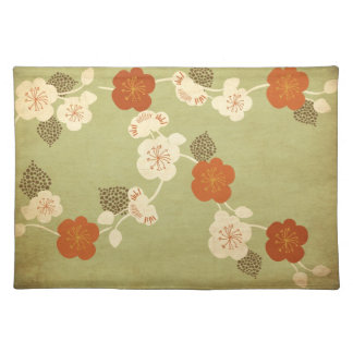 Vintage cherry blossom flowers American MoJo Place Place Mats