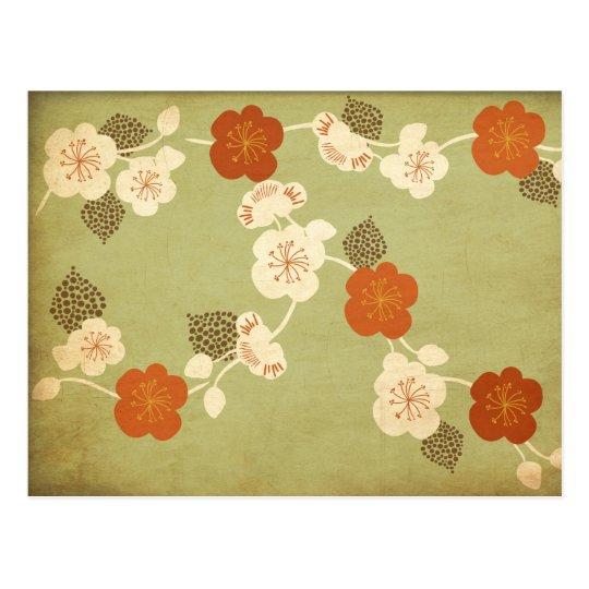 Vintage cherry blossom flowers Postcard