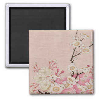 Vintage Cherry Blossom-Japanese Square Magnet