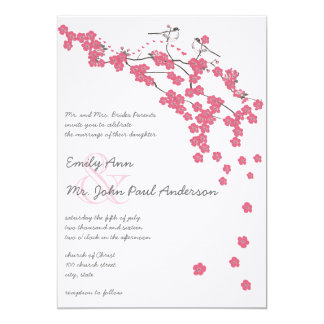 Vintage Cherry Blossom Japanese Wedding Invite