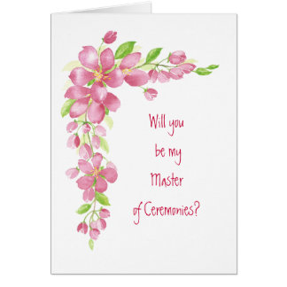 Vintage Cherry Blossom Wedding Master Ceremonies Greeting Card