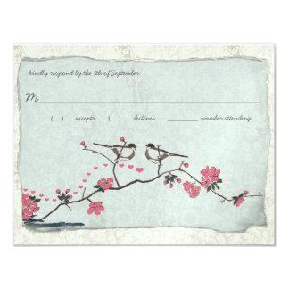 "Vintage Cherry Blossoms & Chickadee Damask  RSVP 4.25"" X 5.5"" Invitation Card"