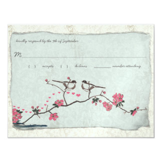 Vintage Cherry Blossoms & Chickadee Damask  RSVP Card
