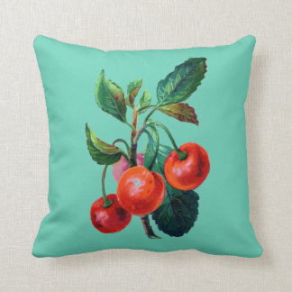 Vintage Cherry Branch Print Reversible Cotton Throw Pillow
