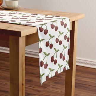 Vintage Cherry Illustrated Pattern on White Short Table Runner