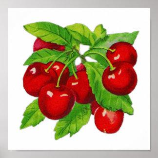 Vintage Cherry Kitchen Wall Decor Poster