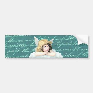 Vintage cherub angel on a cloud bumper sticker