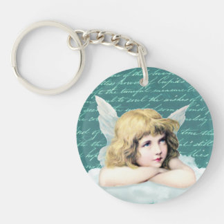 Vintage cherub angel on a cloud Double-Sided round acrylic keychain