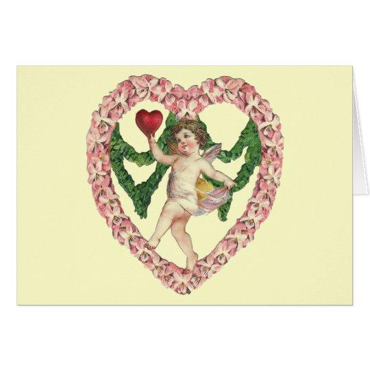 Vintage Cherub Floral Heart Card