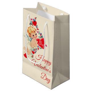 """Vintage Cherub """"Happy Valentine's Day"""" Small Gift Bag"""