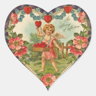 Vintage Cherub Heart Stickers