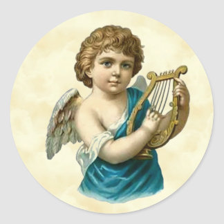 Vintage Cherub Playing the Lute Classic Round Sticker