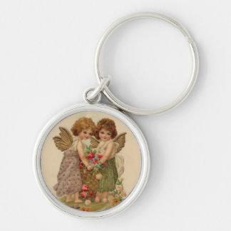 vintage cherub valentine Silver-Colored round keychain