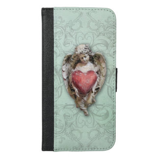 Vintage Cherub with Red Heart iPhone 6/6s Plus Wallet Case