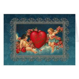 Vintage Cherubs and Valentine Heart Card